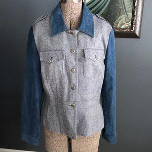 together denim/gray tweed wool blend peplum jacket